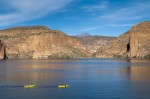 Canyon Lake, located in the Tonto National Forest in the Superstition Mountain range in Arizona