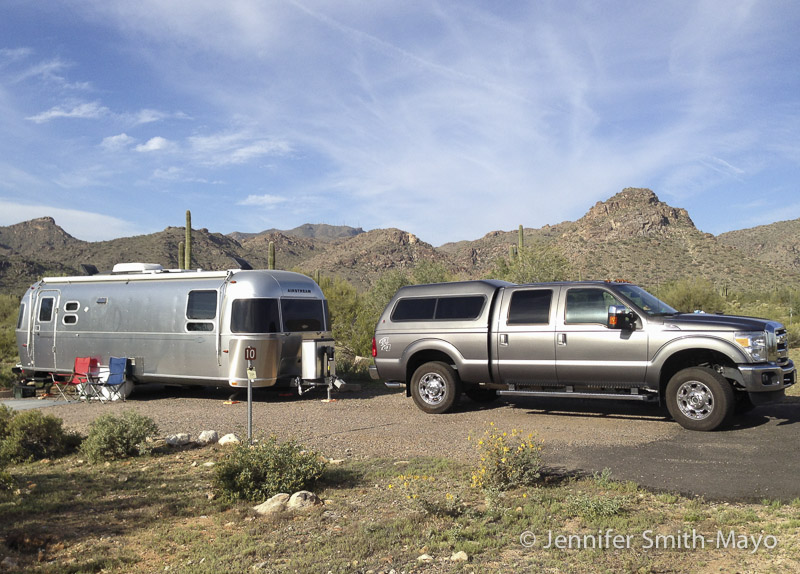 Ducky and Big T in the family campground at White Tank Mountain Regional Park