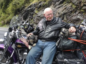 Team Gritty met a fellow traveler on the Blue Ridge Parkway who travels on his Harley with his two shitzus