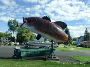 Giant bass statue on Lakeshore Drive, Ashland, Wisconsin