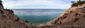 Panoramic of Log Slide Overlook at Grand Sable Dunes, Lake Superior, Michigan