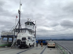 Snowy's first ferry ride: From Essex, New York across Lake Champlain to Charlotte, Vermont.
